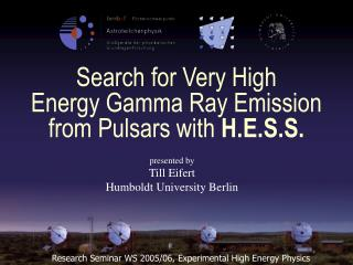 Search for Very High Energy Gamma Ray Emission  from Pulsars with H.E.S.S.