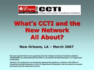 What's CCTI and the  New Network  All About?