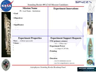 Sounding Rocket  LCAS Mission Candidates