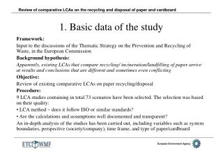 1. Basic data of the study