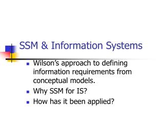 SSM  Information Systems