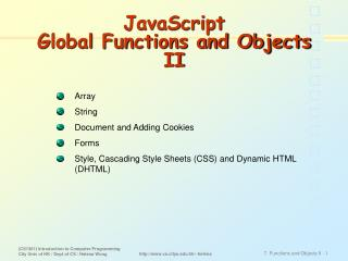 JavaScript  Global Functions and Objects II