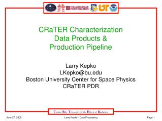 CRaTER Characterization Data Products & Production Pipeline