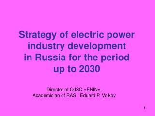 Strategy of electric power industry development  in Russia for the period  up to  2030