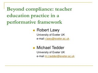 Beyond compliance: teacher  education practice in a performative framework