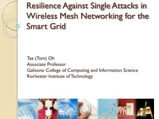 Resilience Against Single Attacks in Wireless Mesh Networking for the Smart Grid