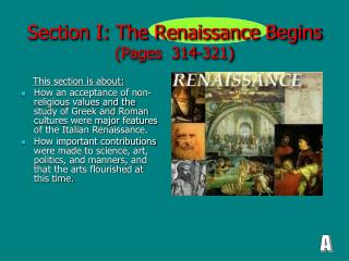Section I: The Renaissance Begins (Pages  314-321)