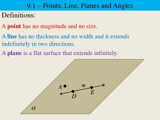 9.1 –  P oints, Line, Planes and Angles