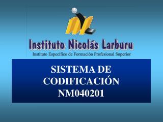 SISTEMA DE CODIFICACIÓN NM040201
