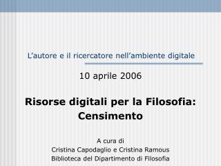 L'autore e il ricercatore nell'ambiente digitale