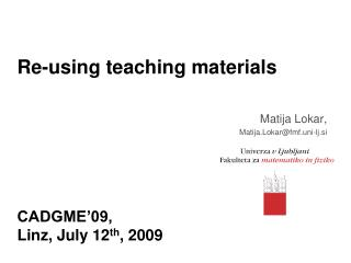 Re-using teaching materials