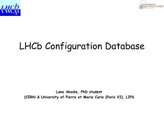 LHCb Configuration Database