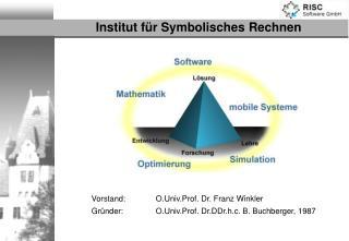 Vorstand:  O.Univ.Prof. Dr. Franz Winkler Gründer: O.Univ.Prof. Dr.DDr.h.c. B. Buchberger, 1987