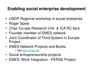 Enabling social enterprise development