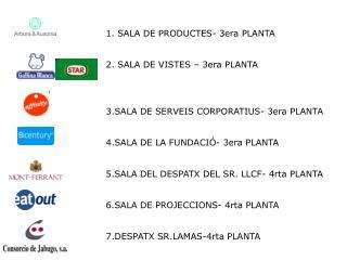 1. SALA DE PRODUCTES- 3era PLANTA 2. SALA DE VISTES – 3era PLANTA
