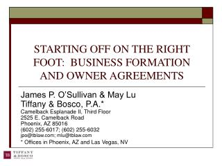 STARTING OFF ON THE RIGHT FOOT:  BUSINESS FORMATION AND OWNER AGREEMENTS