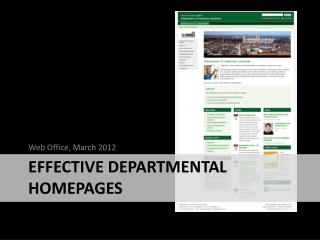 Effective departmental homepages