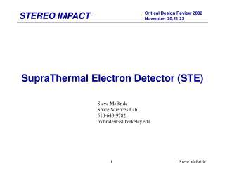 SupraThermal Electron Detector (STE)