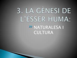 3. LA GÈNESI DE L'ÉSSER HUMA: