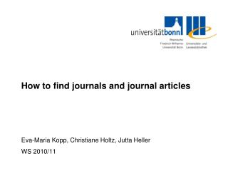 How to find journals and journal articles