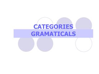 CATEGORIES GRAMATICALS