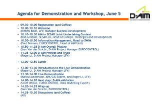 Agenda for Demonstration and Workshop, June 5