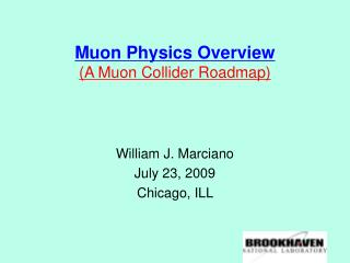 Muon Physics Overview (A Muon Collider Roadmap)
