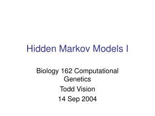 Hidden Markov Models I