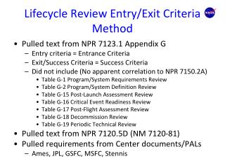 Lifecycle Review Entry/Exit Criteria Method