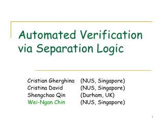 Automated Verification via Separation Logic