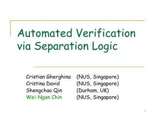 Automated Verification via Separation Logic