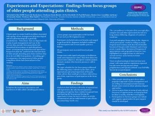 Experiences and Expectations:  findings from focus groups of older people attending pain clinics.