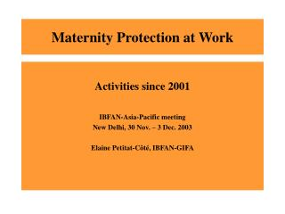 Maternity Protection at Work