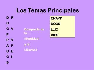 Los Temas Principales