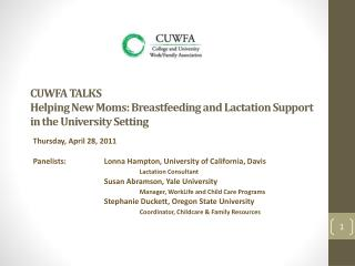 CUWFA TALKS Helping New Moms: Breastfeeding and Lactation Support in the University Setting