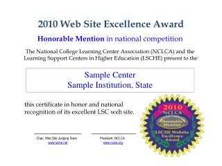 2010 Web Site Excellence Award