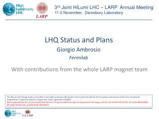 LHQ Status and Plans
