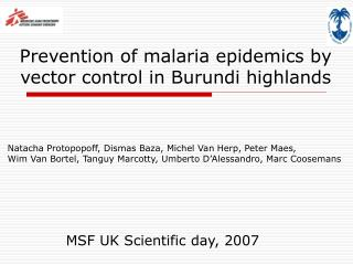 Prevention of malaria epidemics by vector control in Burundi highlands