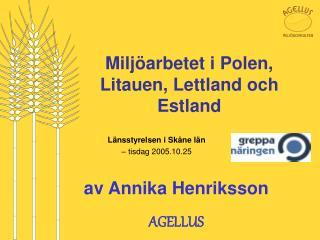 Miljöarbetet i Polen, Litauen, Lettland och Estland