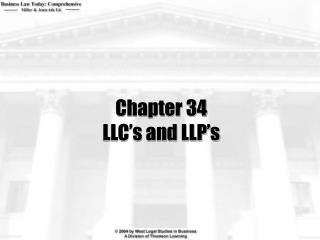 Chapter 34 LLC's and LLP's