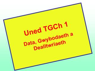 Uned TGCh 1 Data, Gwybodaeth a Dealltwriaeth