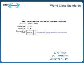 SCP110001 SCP Plenary 47 January 12-14,  2011