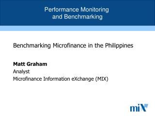 Benchmarking Microfinance in the Philippines