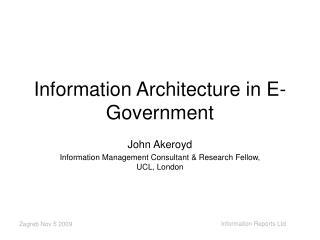 Information Architecture in E- Government