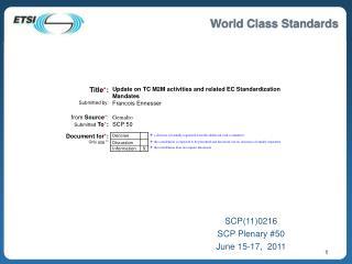 SCP110216 SCP Plenary 50 June 15-17,  2011