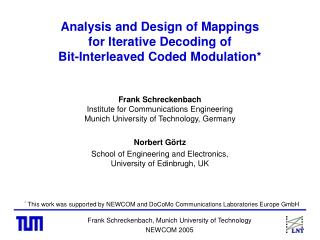 Analysis and Design of Mappings       for Iterative Decoding of  Bit-Interleaved Coded Modulation*