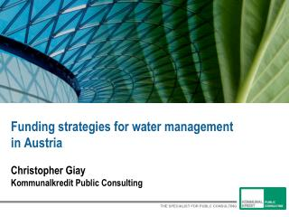 Funding strategies for water management  in Austria