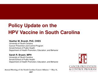 Policy Update on the  HPV Vaccine in South Carolina