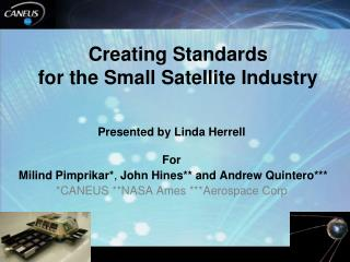 Creating Standards  for the Small Satellite Industry