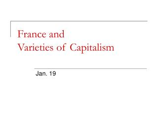 France and  Varieties of Capitalism
